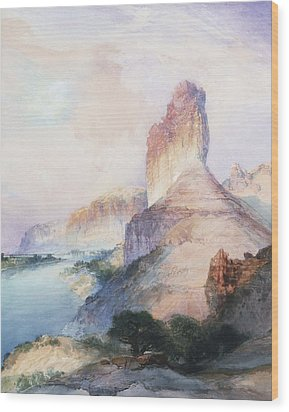 Butte Green River Wyoming Wood Print by Thomas Moran