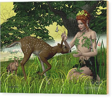 Buttercup Fairy And Forest Friends Wood Print by Corey Ford