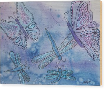 Wood Print featuring the painting Butterflies And Dragonflies by Ellen Levinson