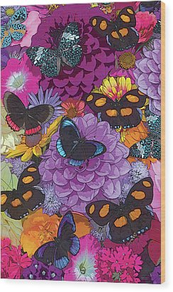 Butterflies And Flowers 2 Wood Print by JQ Licensing