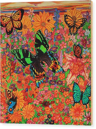 Butterflies And Flowers Wood Print by Nick Gustafson