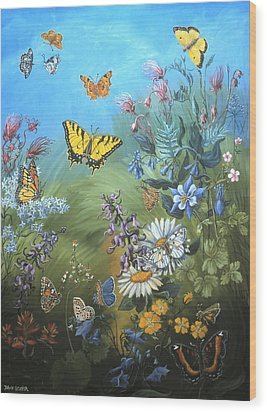 Butterflies And Wildflowers Of Wyoming Wood Print by Dawn Senior-Trask
