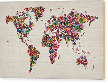 Butterflies Map Of The World Wood Print by Michael Tompsett