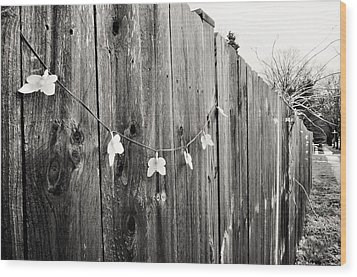 Butterflies On A Rustic Fence Wood Print by Jeanette O'Toole