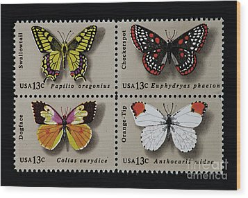 Butterflies Postage Stamp Print Wood Print by Andy Prendy