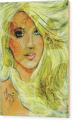 Wood Print featuring the painting Butterfly Blonde by P J Lewis
