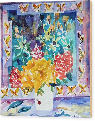 Butterfly Bouquet Wood Print by Mindy Newman