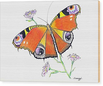 Butterfly Dressed For A Masquerade Ball Wood Print
