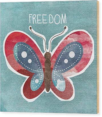 Butterfly Freedom Wood Print by Linda Woods