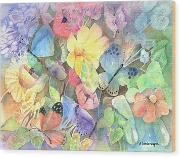 Butterfly Garden Wood Print by Arline Wagner