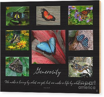Butterfly Generosity Collage Wood Print by Diane E Berry