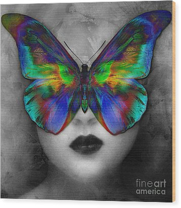 Butterfly Girl Wood Print