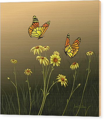 Wood Print featuring the painting Butterfly Haven by Sena Wilson
