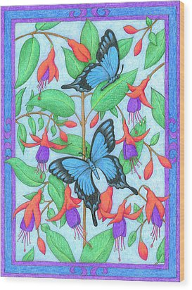 Butterfly Idyll-fuchsias Wood Print