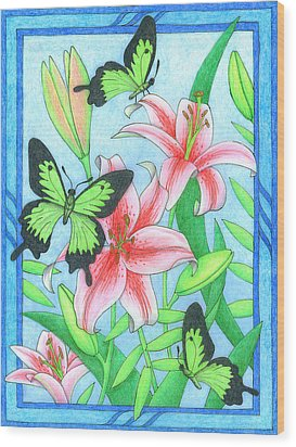 Butterfly Idyll- Lilies Wood Print