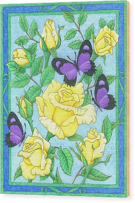 Butterfly Idyll-roses Wood Print