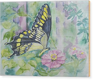 Butterfly In My Garden Wood Print by Judy Loper
