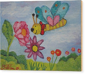 Butterfly In The Field Wood Print by Ioulia Sotiriou