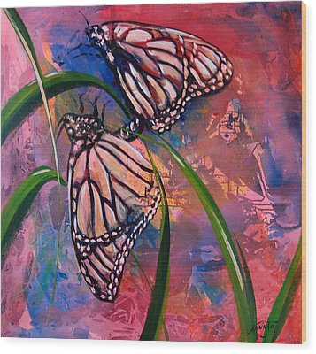 Butterfly Love Wood Print by AnnaJo Vahle