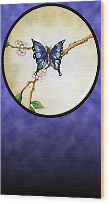 Butterfly Moon Wood Print
