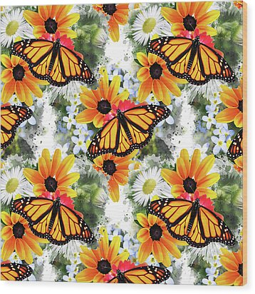 Wood Print featuring the mixed media Butterfly Pattern by Christina Rollo