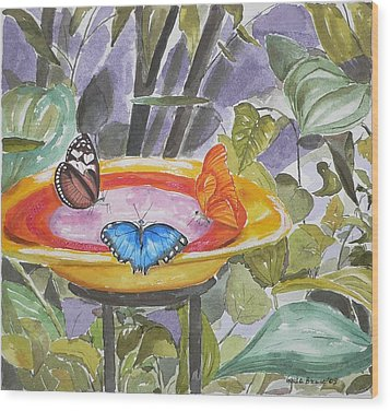 Wood Print featuring the painting Butterfly Sanctuary At Niagara Falls by Geeta Biswas