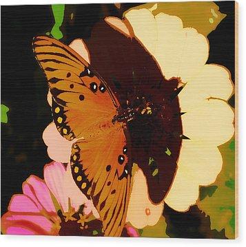 Butterfly Shadows Wood Print by Dottie Dees