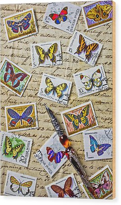 Butterfly Stamps And Old Document Wood Print by Garry Gay