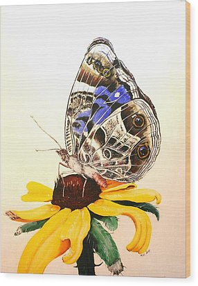 Wood Print featuring the painting Butterfly Sun by Mike Ivey