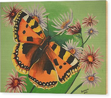 Butterfly With Asters Wood Print by Donna Blossom