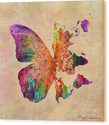 Butterfly World Map  Wood Print by Mark Ashkenazi