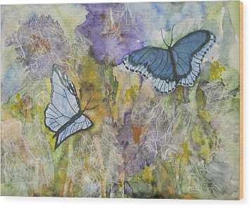 Butterflys On Color Wood Print