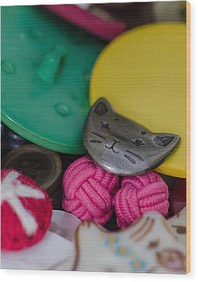 Button Button Box Wood Print