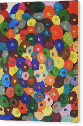 Button Buttons Whose Got The Buttone One Wood Print by Brenda Adams