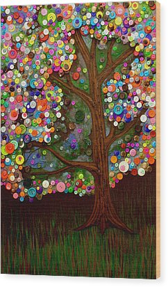 Button Tree 0007 Wood Print by Monica Furlow