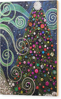 Button Tree 0012-holiday Wood Print