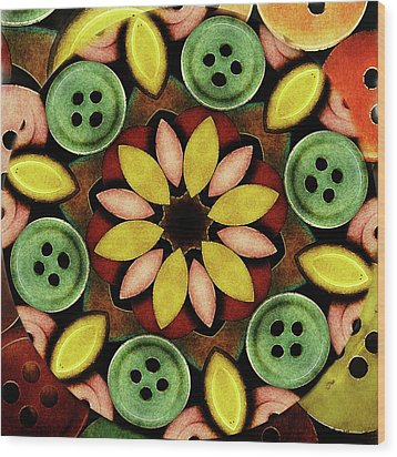Buttons Abstract Wood Print by Bonnie Bruno