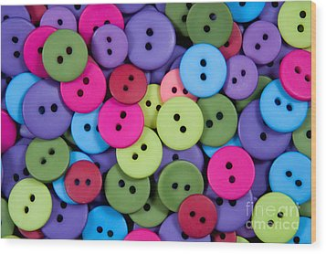 Buttons Wood Print by Dan Holm