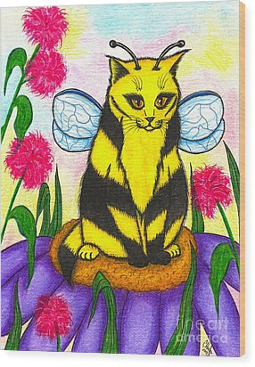 Buzz Bumble Bee Fairy Cat Wood Print by Carrie Hawks