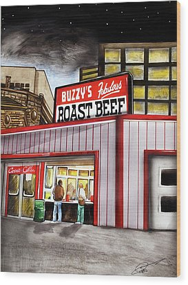 Buzzy's Fabulous Roast Beef Wood Print by Dave Olsen