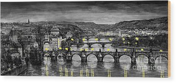 Bw Prague Bridges Wood Print by Yuriy  Shevchuk
