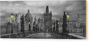 Bw Prague Charles Bridge 04 Wood Print by Yuriy  Shevchuk