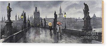 Bw Prague Charles Bridge 05 Wood Print by Yuriy  Shevchuk