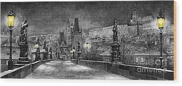 Bw Prague Charles Bridge 06 Wood Print by Yuriy  Shevchuk