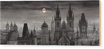 Bw Prague City Of Hundres Spiers Wood Print by Yuriy  Shevchuk