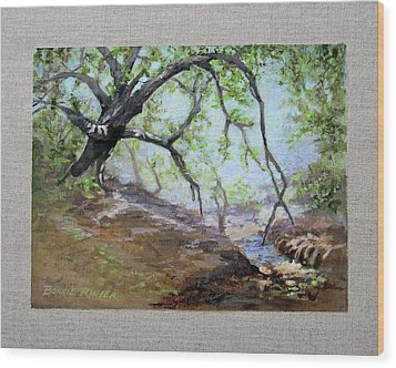 Wood Print featuring the painting By The Creek by Bonnie Rinier