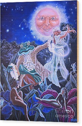 By The Light Of The Moon Wood Print by Gail Allen
