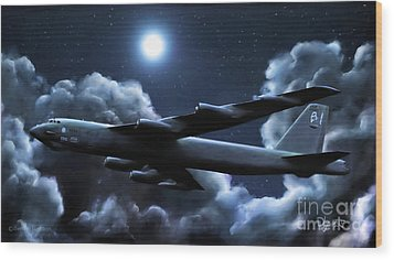 Wood Print featuring the painting By The Light Of The Silvery Moon by Dave Luebbert