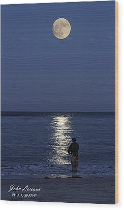 By The Light Of The Supermoon Wood Print by John Loreaux