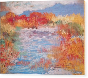 Wood Print featuring the painting By The River by M Diane Bonaparte